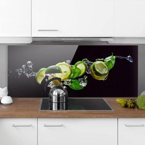 Spritzschutz Glas - Mojito Zutaten - Panorama Quer Größe HxB: 40cm x 100cm