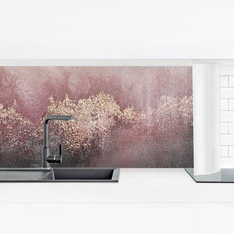 Küchenrückwand - Goldene Dämmerung Rosa Größe HxB: 40cm x 140cm Material: Smart