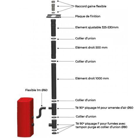 Kit conduit Vertical ou sortie toit pour Poêle à granulés 100/150 - Noir laqué