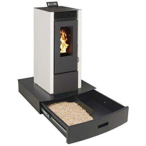 Podium+ pour Poêles - 2 compartiments de rangement - Noir