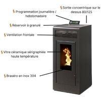 Pack Poêle à granules MARINA 11KW Etanche sortie Concentrique sur le dessus + Kit Conduit Vertical 80/125 - Noir