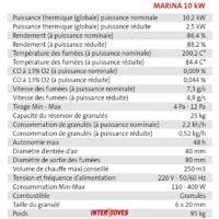 Poêle à granules MARINA 10KW - Bordeaux