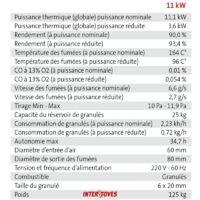 Pack Poêle à granules MARINA 11KW Etanche + Kit Conduit Ventouse (sortie façade) - Bordeaux