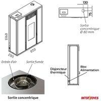 Pack Poêle à granules TESSA 10KW Etanche sortie Concentrique sur le dessus + Kit Conduit Ventouse (sortie façade) - Beige