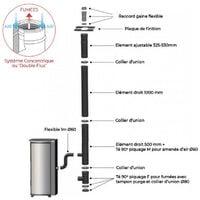 Pack Poêle à granules MARINA 6KW Etanche + Kit Conduit Vertical 80/125 - Blanc