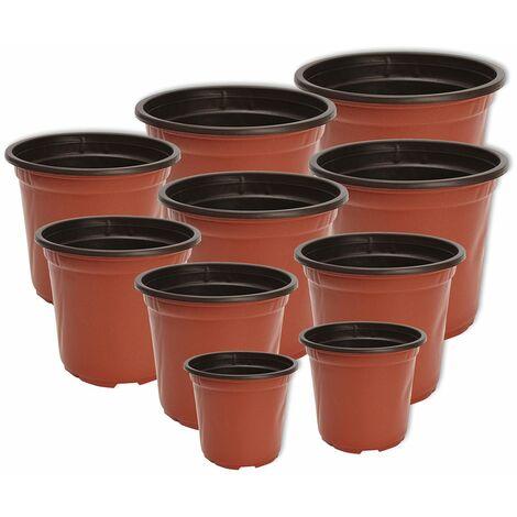 10 x Pot De Plantation 1 L Noir Ø 13 x 11 cm pot de fleurs plantes bac à fleurs