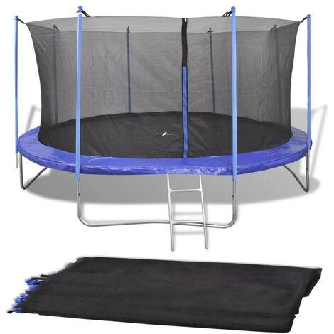 Hommoo Filet de sécurité pour trampoline rond 4,26 m PE Noir HDV04293