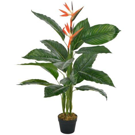 Hommoo Plante artificielle Strelitzia avec pot Rouge 100 cm HDV22348