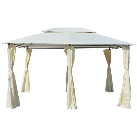 Hommoo Tonnelle avec rideaux 4 x 3 m Blanc HDV27579