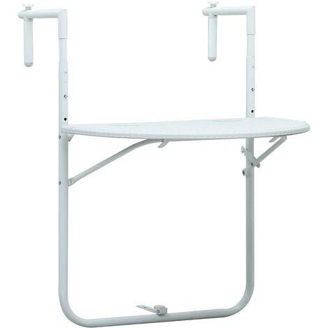 Hommoo Table de balcon Blanc 60x64x83,5 cm Plastique Aspect de rotin HDV30270