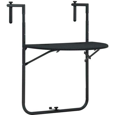 Hommoo Table de balcon Noir 60x64x83,5 cm Plastique Aspect de rotin HDV30271