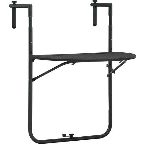 Hommoo Table de balcon Marron 60x64x83,5 cm Plastique Aspect de rotin HDV30272