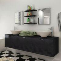 Hommoo 8 pièces de mobilier de salle de bain et lavabo Noir HDV15790