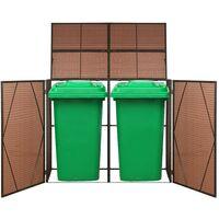Hommoo Abri pour poubelle double Marron 153x78x120 cm Résine tressée HDV45635