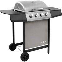 Hommoo Barbecue gril à gaz avec 4 brûleurs Noir et argenté HDV48302