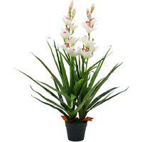 Hommoo Plante artificielle Orchidée Cymbidium avec pot 100 cm Vert HDV11895
