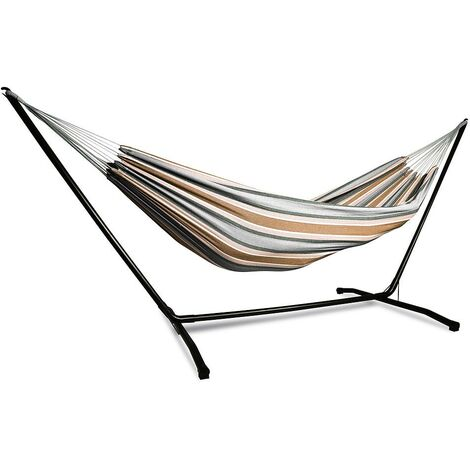 Garden Hammock with stainless steel support for 2 people with load capacity of 200 kg ideal for camping and beach. Color Beige