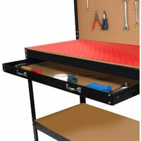 Garage workbench table 120x60cm with pegboard, 2 shelves and 2 drawers