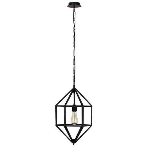 Lampara de Suspension Diamond - Luz de techo - para el Muro - Negro en Metal, 28 x 28 x 50 cm, 1xE/27 max 100W