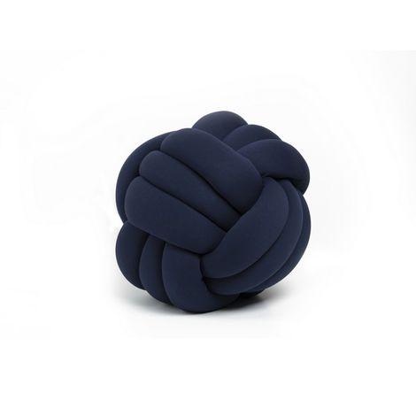 Cojin decorativo Knot - Tejido - para el sofa, la cama - Azul en Cuentas de algodon, lycra y fibra, 45 x 45 x 42 cm