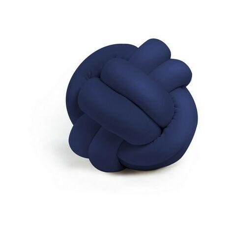 Cojin decorativo Knot - Tejido - para el sofa, la cama - Azul en Cuentas de algodon, lycra y fibra, 25 x 25 x 30 cm