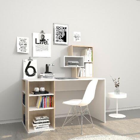 Escritorio Ermes - con estanteria integrada, estantes - estudio, dormitorio - White, Sonoma en Madera, 130 x 60 x 75 cm
