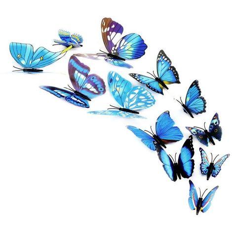 Kit 12 mariposas 3D adhesivas para pared - Decoración y muebles para el hogar | Azul