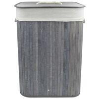 Cesta 60x40x27 cm para LA ropa sucia en bambú con asas y tapa | Gris