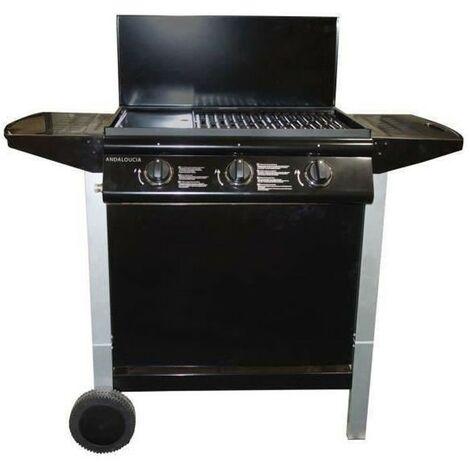 ANDALOUCIA Barbecue a gaz 3 brûleurs sur chariot - Fonte émaillée