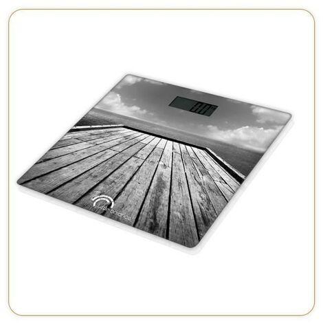 LITTLE BALANCE 8107 Paysage, Pese-personne, balance électronique, 180 kg / 100 g, Design Ponton