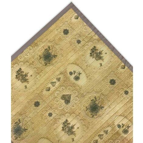 TAPPETO CUCINA IN LEGNO BAMBOO SHABBY BOUQUET BEIGE Cm. 50x75