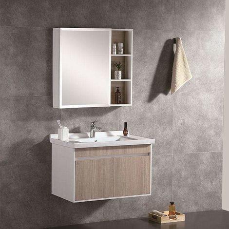 Stauraum Unterschrank Möbel zwei Türe Badezimmer Spiegelschrank Leon 60cm Weiß