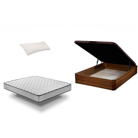 Pack: Canapé Abatible madera + colchón Pronature + almohada - 90x190 cm NOGAL Montaje Gratuito