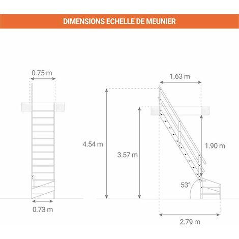 A. Escalier de meunier avec main courante à droite