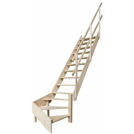 B. Escalier de meunier - Quart tournant à droite - main courante à gauche