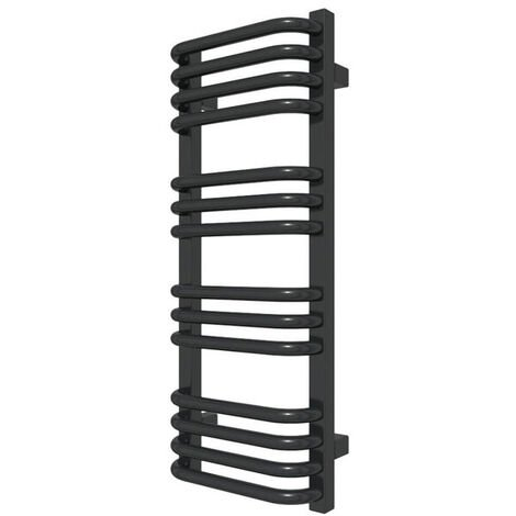 E. Sèche-serviette chauffage central noir de 760mm de haut et 300mm de large.