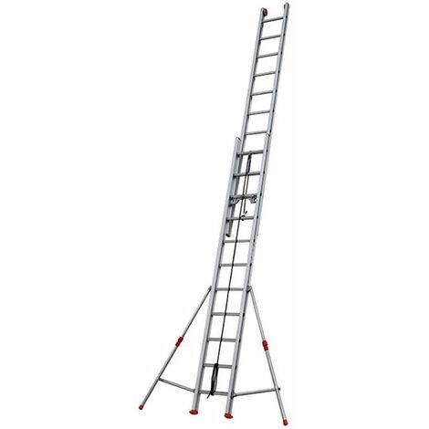 A. Echelle coulissante aluminium 2 plans à corde - Longueur d'échelle pliée de 3.53m et 5.90m dépliée.