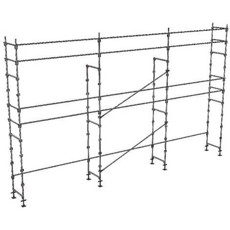 A. Echafaudage fixe de 60m² - Structure seule - Version lisses; sous-lisses et diagonales