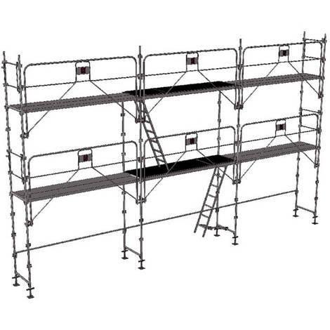 Echafaudage fixe de 60m² - Structure + Planchers - Version garde-corps monobloc
