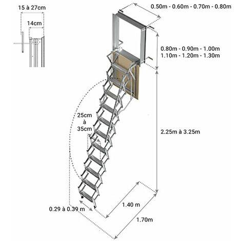X. Escalier escamotable mural: dimensions de tremie de 80x130cm