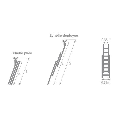 A. Echelle isolante coulissante à corde 3 plans en fibre de verre - Longueur maximale 6.90m