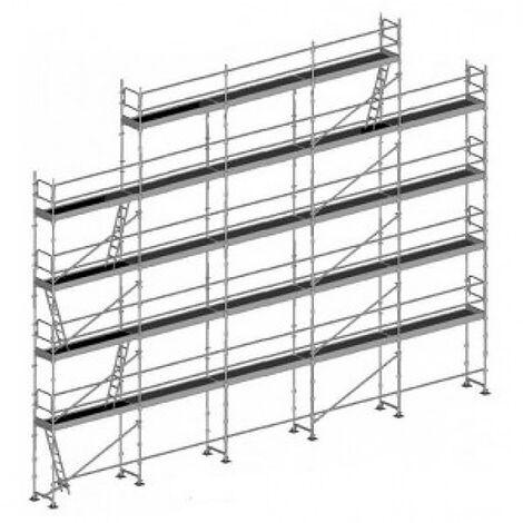 Echafaudage fixe de 180m² - Structure + Planchers + Plinthes - Version lisses; sous-lisses et diagonales