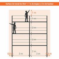 Echafaudage fixe de 56m² - Structure et planchers - Version garde-corps monobloc