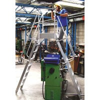 A. Plateforme saut de loup fixe 3 marches en aluminium pour travailler au dessus d'obstacle - Hauteur de travail maximum 2.80m