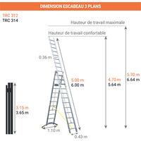 A. Echelle transformable 3 plans aluminium de 3x12 barreaux.