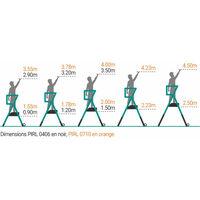 A. Escabeau pro télescopique de 4 à 6 marches. Hauteur de travail maximale de 3.50m