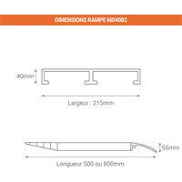A. Rampe pour container - Largeur 215mm - Franchissement de 120 à 160mm