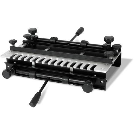 """Gabarit à queues daronde (largeur de travail max. 300mm, 2 serre-joints rapides, compatible avec les défonceuses de ½"""" et ¼"""" pouce, montage sur établi possible)"""