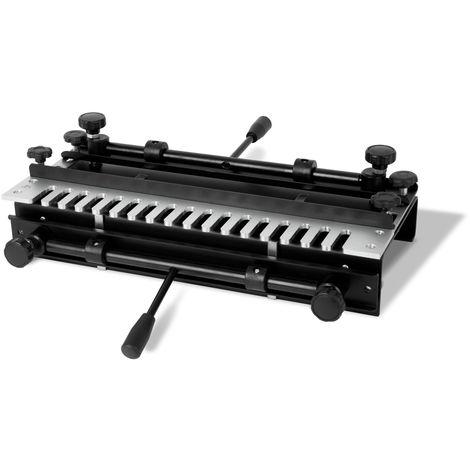 """Gabarit à queues daronde (largeur de travail max. 380mm, 2 serre-joints rapides, compatible avec les défonceuses de ½"""" et ¼"""" pouce, montage sur établi possible)"""