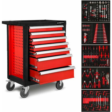 Servante datelier avec Outils (7 tiroirs à roulements à billes, 5 tiroirs équipés doutils, verrouillables, 4 roues, frein de stationnement, revêtement par poudre) Chariot